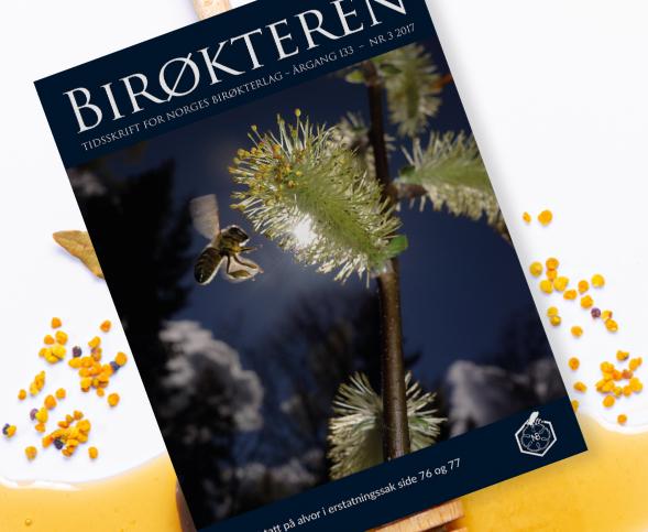 Forside av bladet Birøkteren. Layout fra 2017.