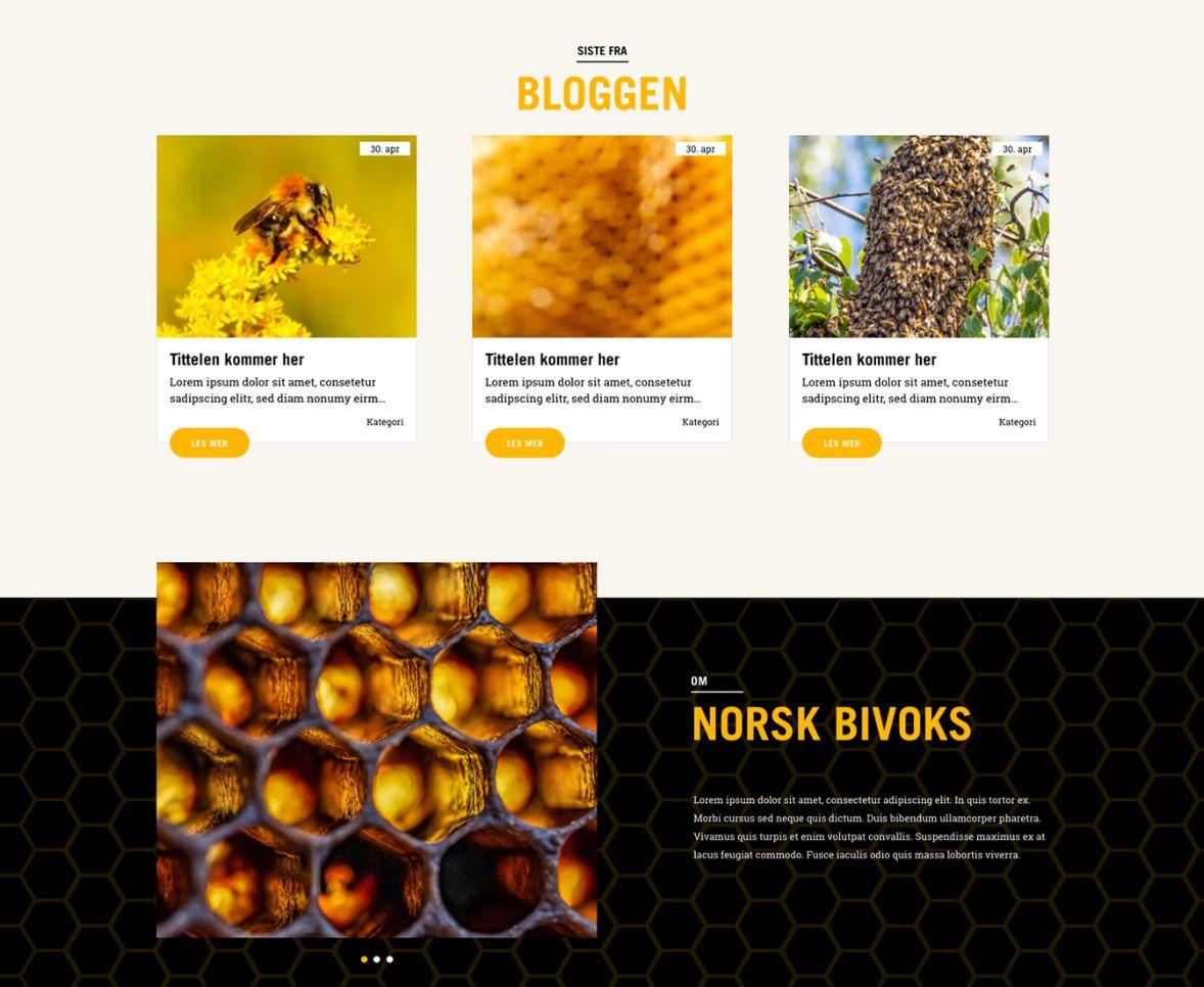 Webdesign og webutvikling av hjemmesiden til Norsk Bivoks.